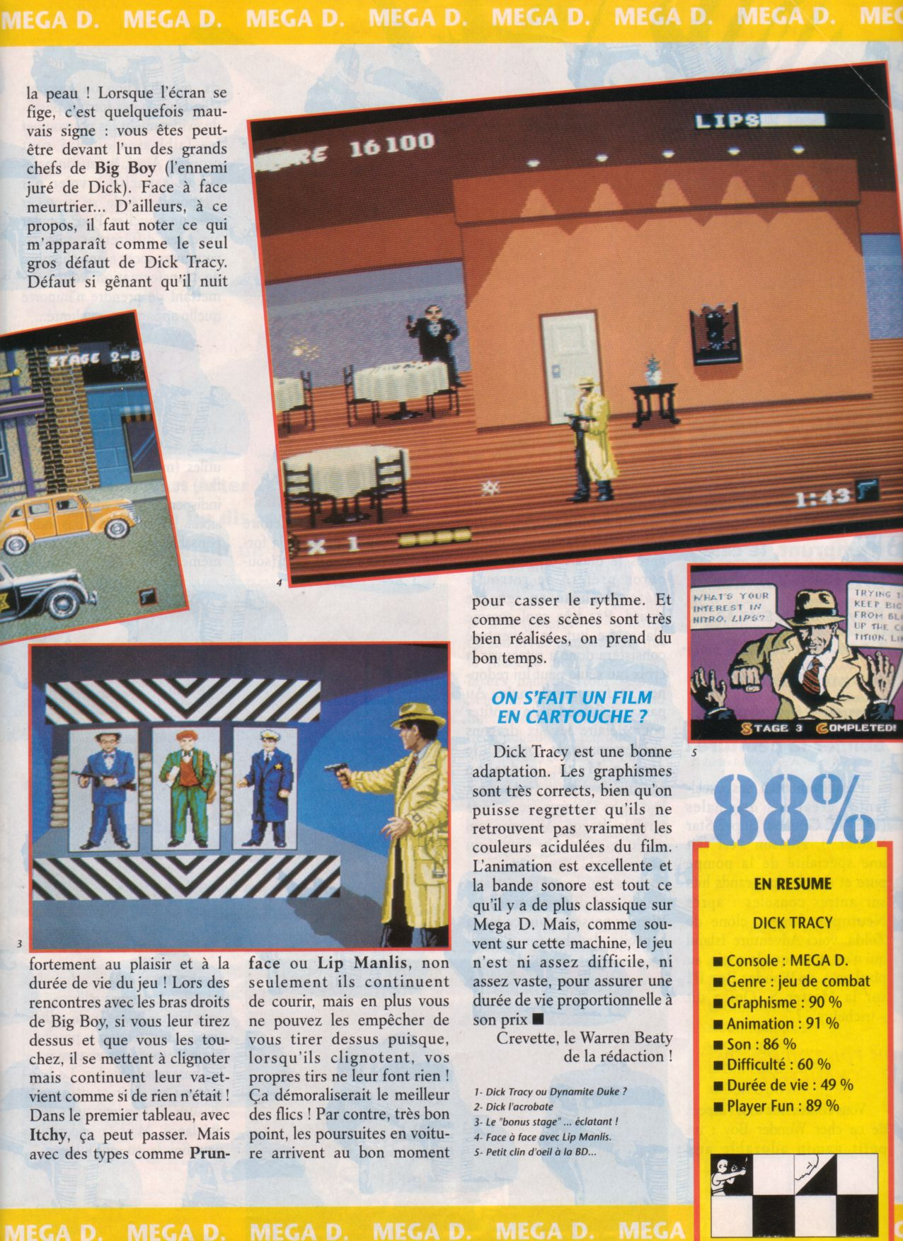 [Jeux]   DICK TRACY (Megadrive) 1990.  Player%20One%20010%20-%20Page%20029%20(1991-06)
