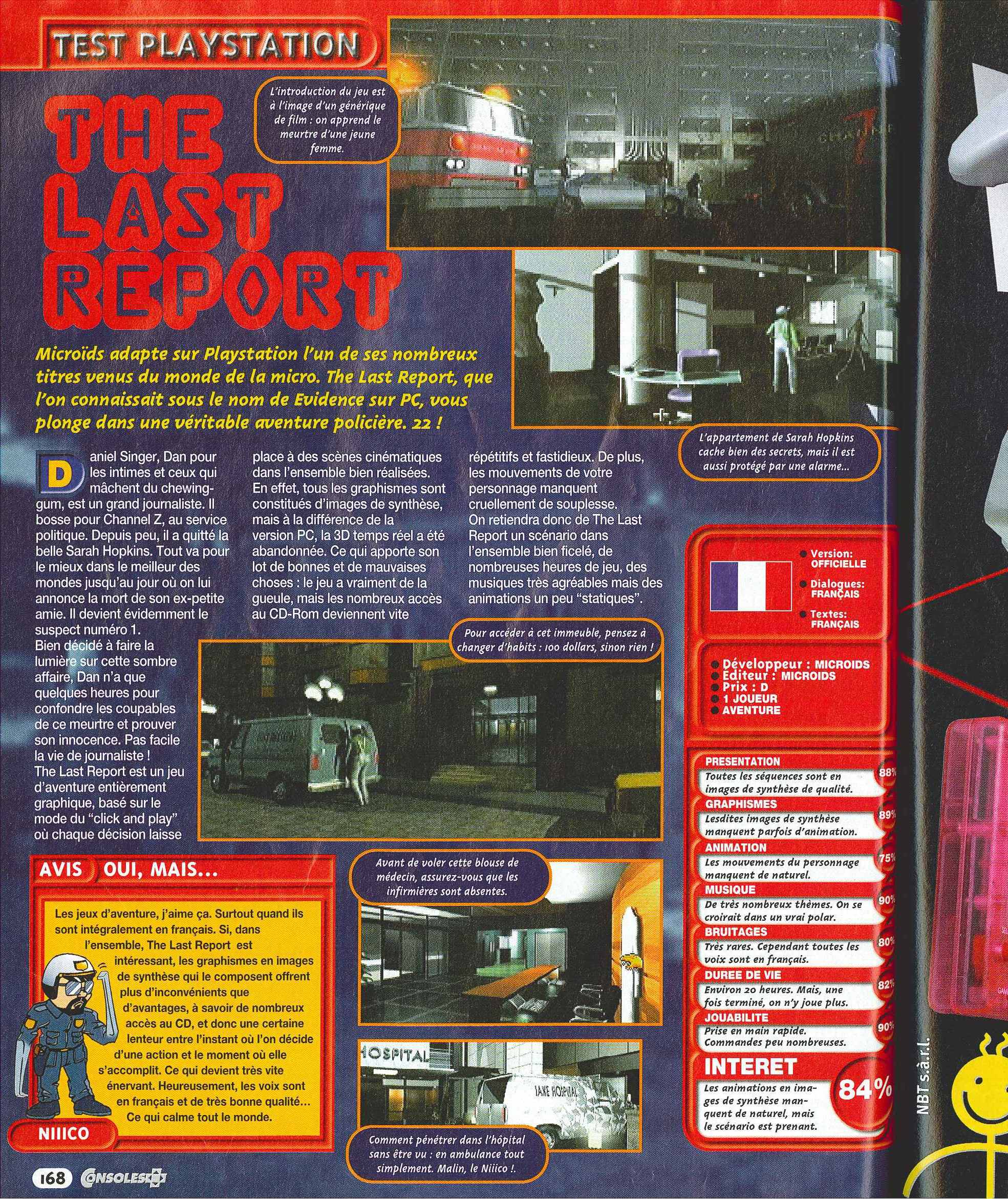 Beton De Synthese Avis evidence: the last report for playstation (1997) mobyrank